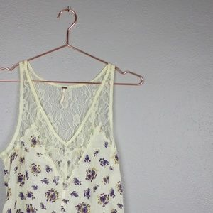 Free People Lace and Floral Trapeze Tank top